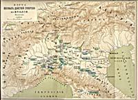 Карта военных действий Суворова в Италии